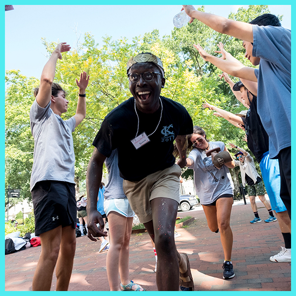 Students participate in UNC's Carolina Kickoff in front of the Campus Y building.