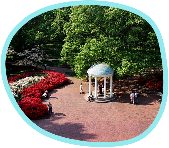 an aerial view of the Old Well landmark on the Carolina campus