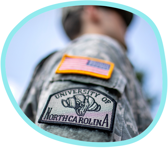An American flag patch and UNC-Chapel Hill ROTC patch on the shoulder of an Army uniform
